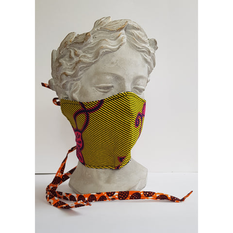 The masks sits across your nose and under your chin. The main colour's and pattern are  a beautiful yellow, bright pink .  The inner fabric is black and white and the ties are orange, white brown. The main pattern is floral with diagonal thin lines running through it.