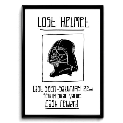 Star Wars inspired print featuring Darth Vaders head and fun text that reads Lost Helmet.