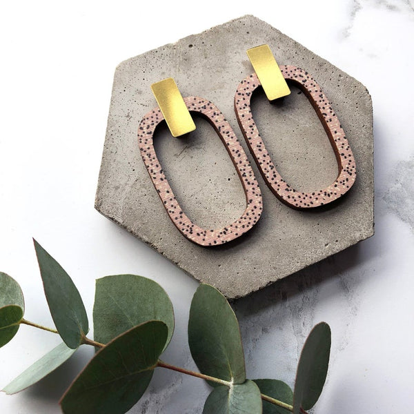 Large Pink & Brass Rectangle Earrings