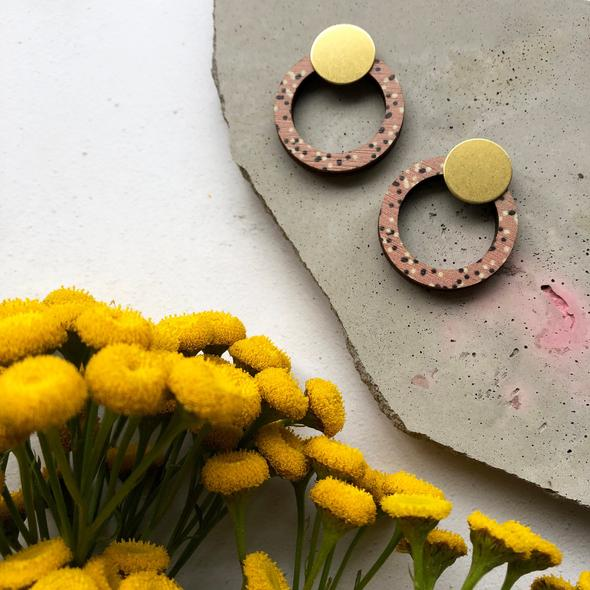 Minimal Pink & Brass Circle Stud Earrings
