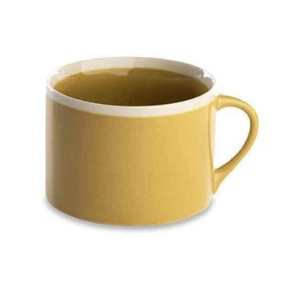 Short sided round mug with mustard coloured glaze finish.
