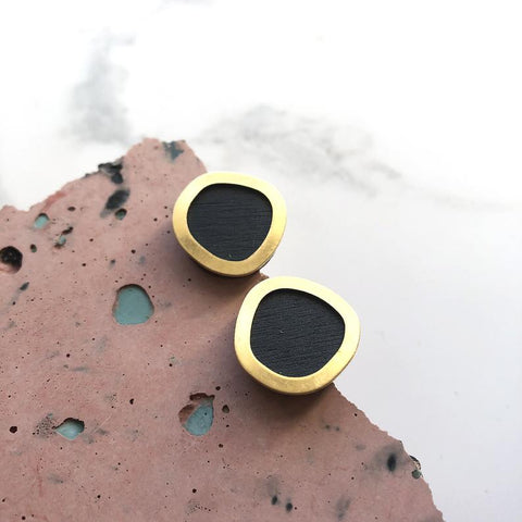 Stud Earrings Petrol Blue And Brass Minimal Round
