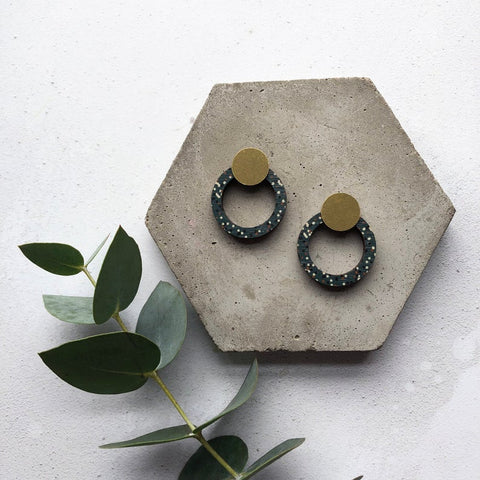 Stud Earrings Blue & Brass Circle