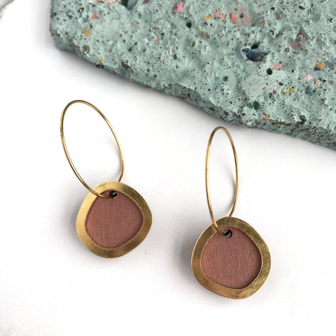 Pink Brass Circle Hoop Earrings