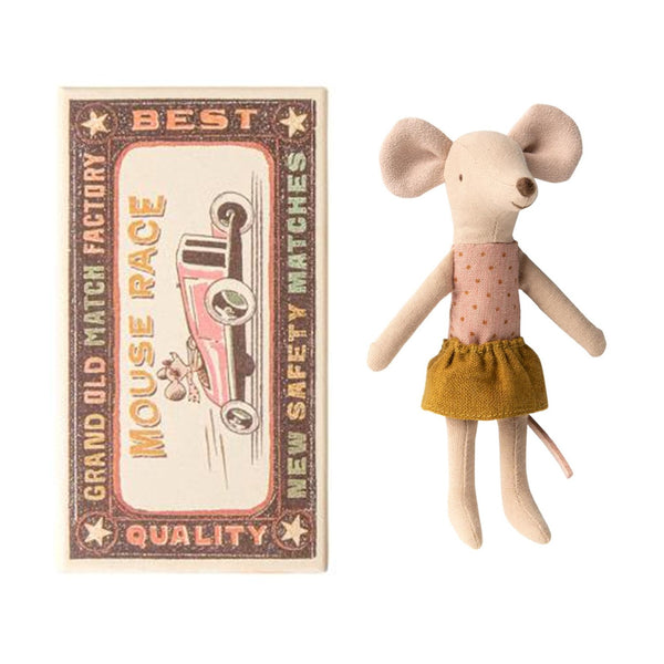 Mouse in cardboard matchbox house.