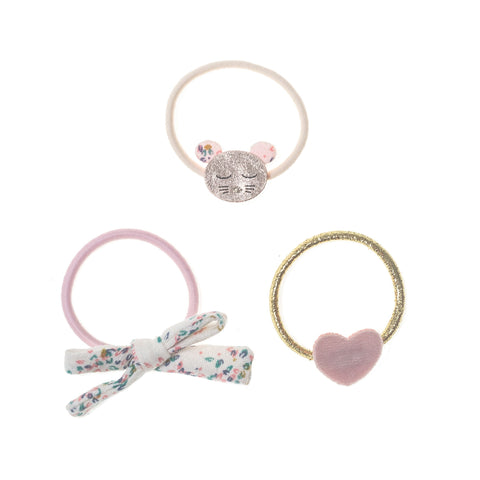 Set of three hair bands one with a fabric bow, one with a fabric pink heart and the third featuring a mouses face.