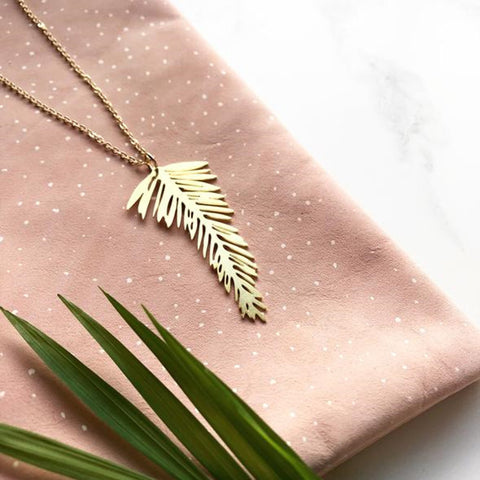 Necklace Brass Palm Leaf Necklace