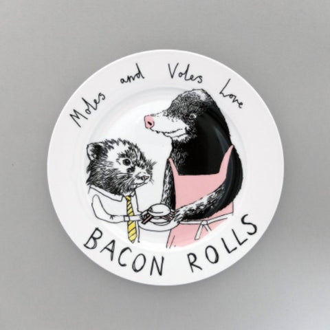 Side plate by Jimbobart featuring a cute mole handing a bacon roll to a little vole.