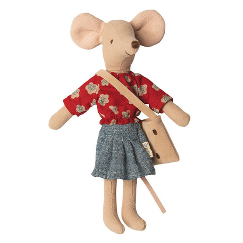 Mum mouse with denim skirt and red floral shirt.