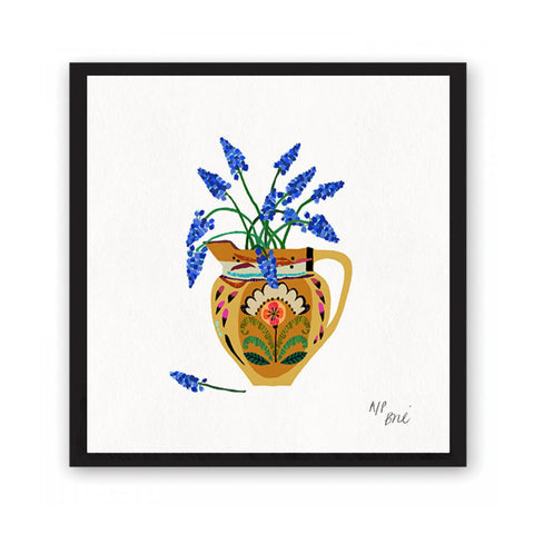 Giclée print featuring brightly coloured flowers in a highly patterned jug.