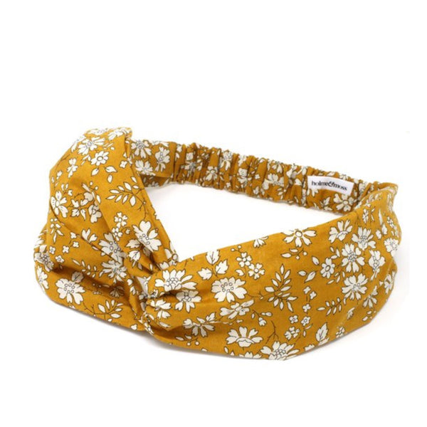 Elasticated twist headband in Liberty print cotton fabric.
