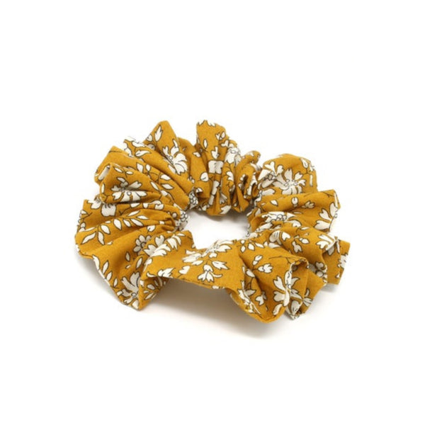 Mustard floral print cotton hair scrunchie.