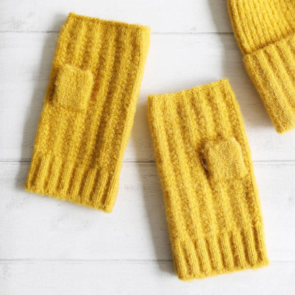 Cable knit mustard wrist warmers