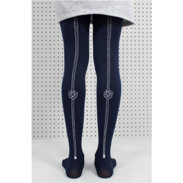 Navy tights with a knotted rope pattern on back of legs