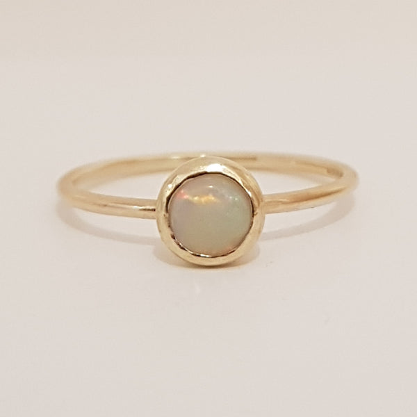 Milky opal 9ct yellow gold ring perfect on it's own or as stacking.
