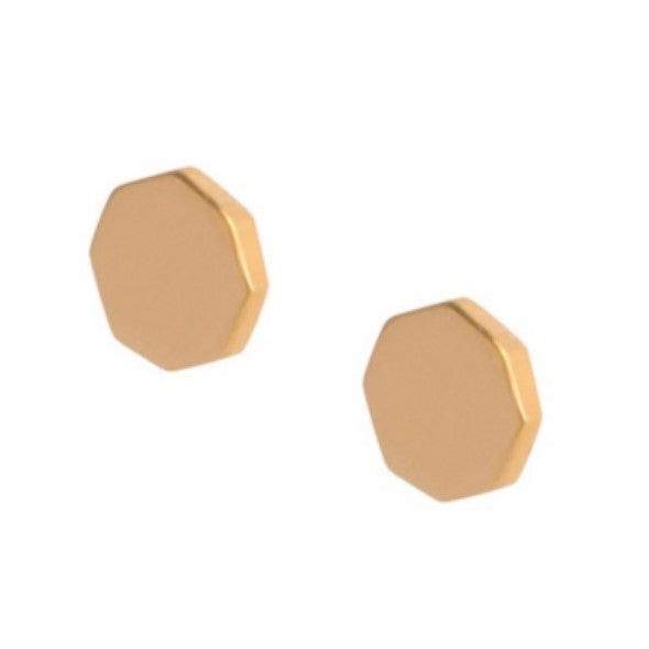 Octagon shaped gold stud earrings