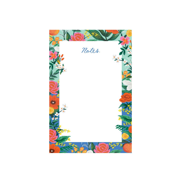 Tear off page notepad with a warm white writing area surrounded by a bright floral boarder.