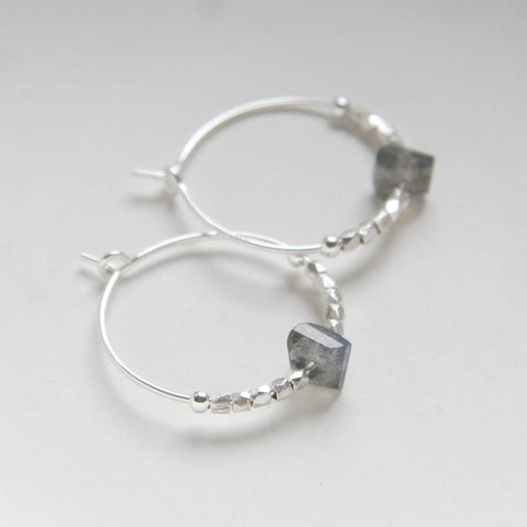 Sterling Silver And Labradorite Hoop Earrings