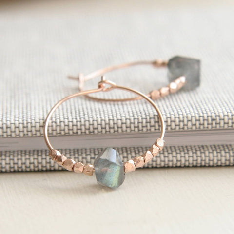 rose gold wire hoop earrings with labradorite stone and rose gold beads.