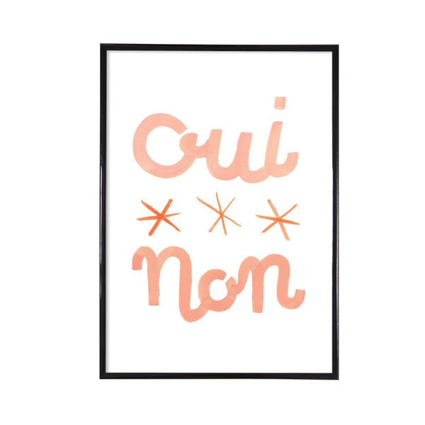 Oui non illustrated print with soft pink text.