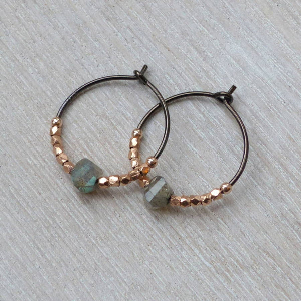Oxidised silver hoops with labradorite and rose gold beads.
