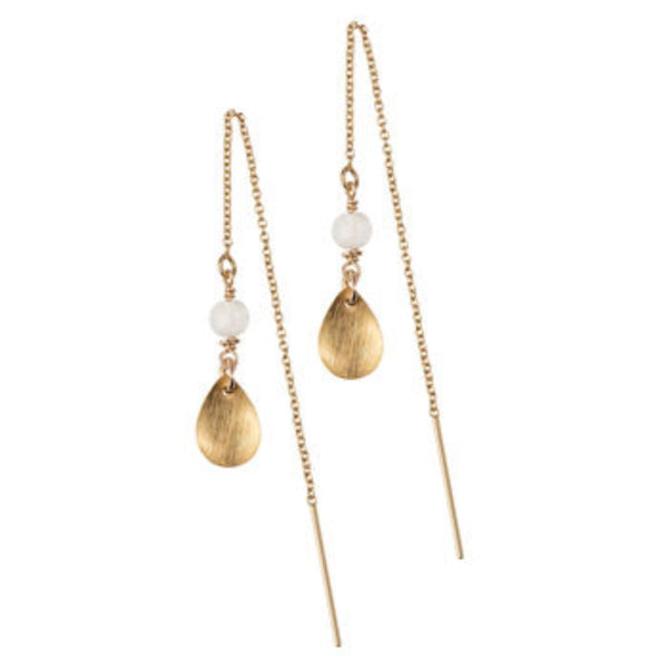 Gold drop and moon stone thread earrings