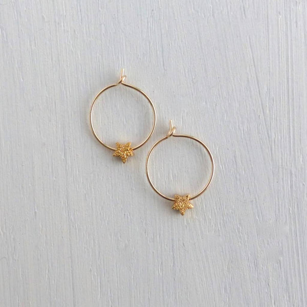 Dainty druzy gold star hoops