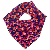 Square silk scarf with abstract tiny square design in pinks purples and blue.
