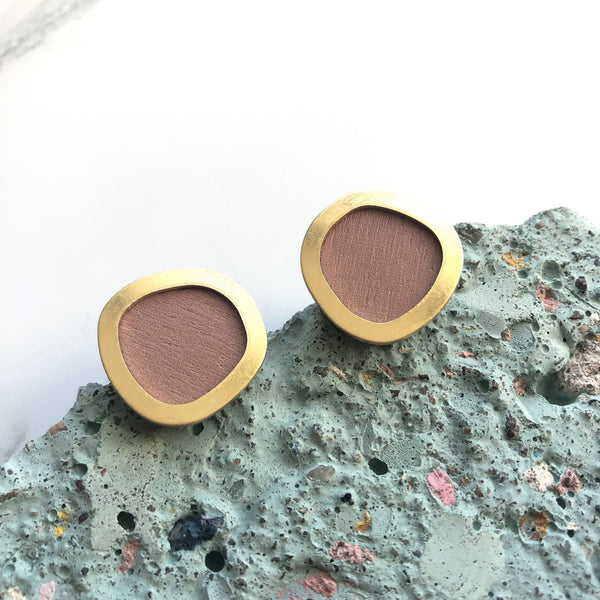 Stud Earrings Pink & Gold Brass Minimal Round