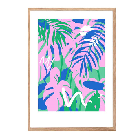 Brightly coloured leaves print in turquoise, pink blue and green