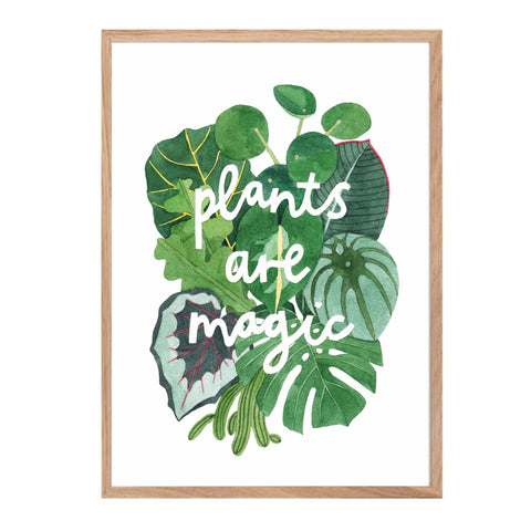 Print with text 'Plants Are Magic' surrounded by tropical leaves.