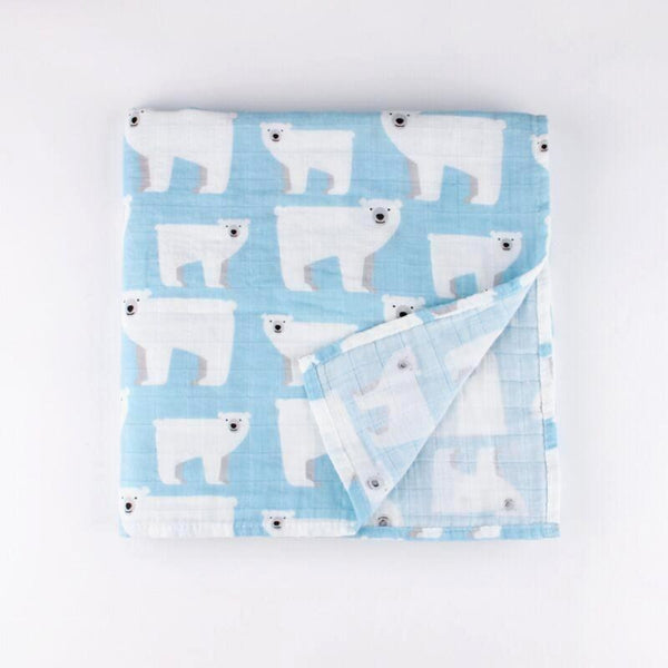 Soft organic cotton muslin cloth with a mummy and baby polar bear repeat pattern on a pale blue  background.