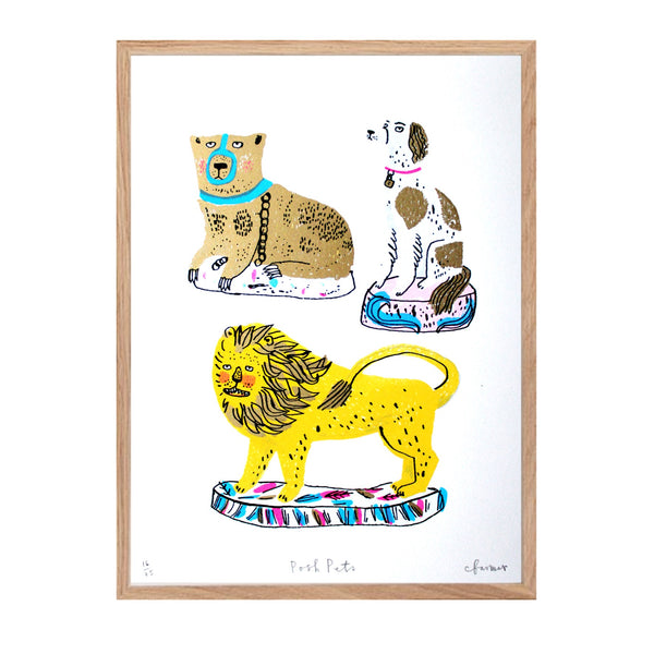 Screen print by Charlotte farmer featuring a dog, lion and golden bear