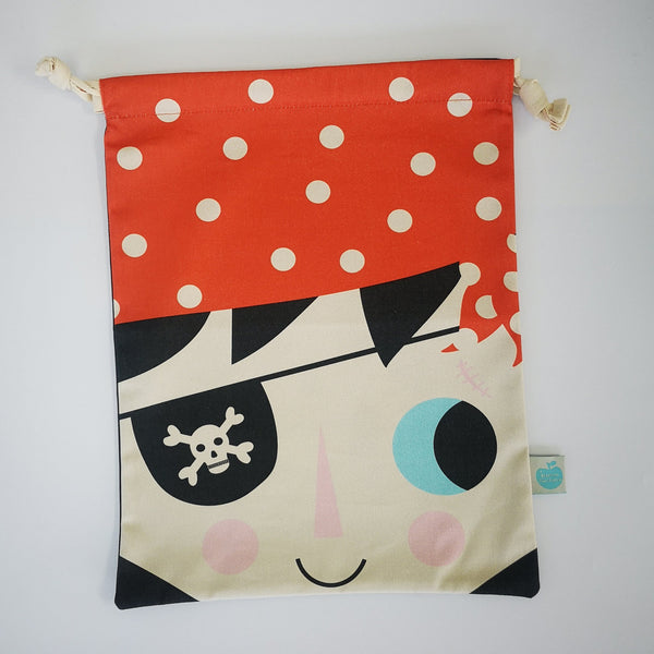 Cotton draw string bag with pirate face on the front and a scull and cross bones on the reverse.