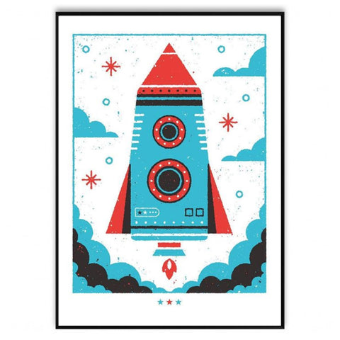 Hand Screen Print Rocket A2