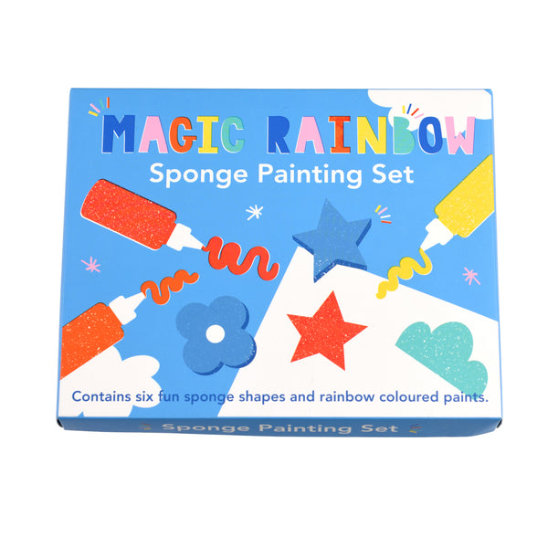 Painting sponge kit containing six different shaped sponges and six tubes of paint