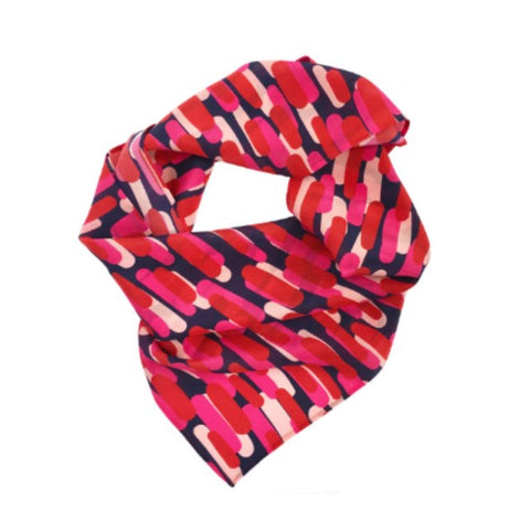 Silk scarf with over lapping lines