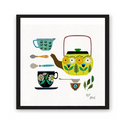 Giclée print featuring brightly coloured kitchen crockery .