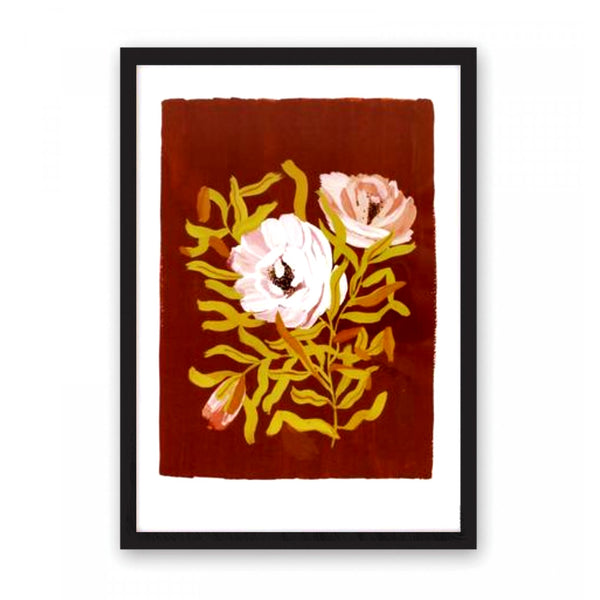 Print featuring stems of English tea roses on a warm brown background.