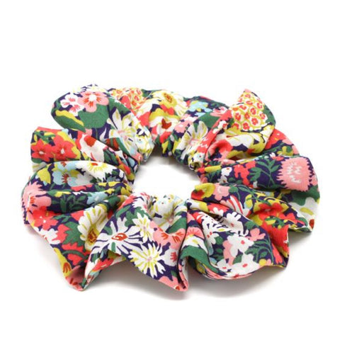 Brightly coloured floral print cotton hair scrunchie.