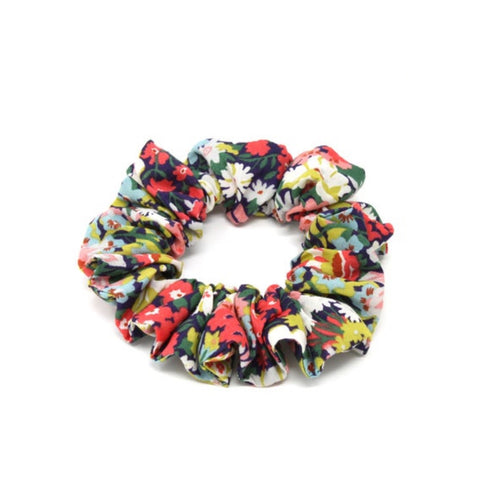 Brightly floral printed cotton fabric scrunchie