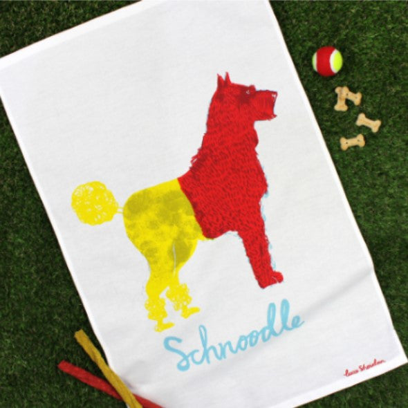 Why not add some art to your kitchen with this tea towel featuring a brightly coloured red and yellow pup that is half Schnauzer half Poodle.
