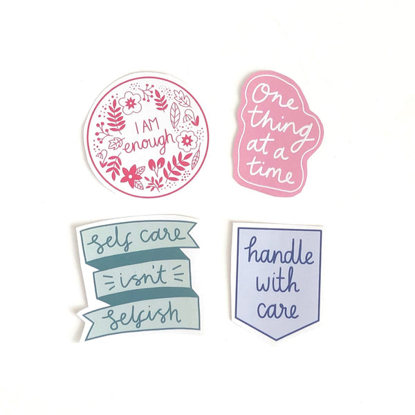 Self care stickers, set of four.