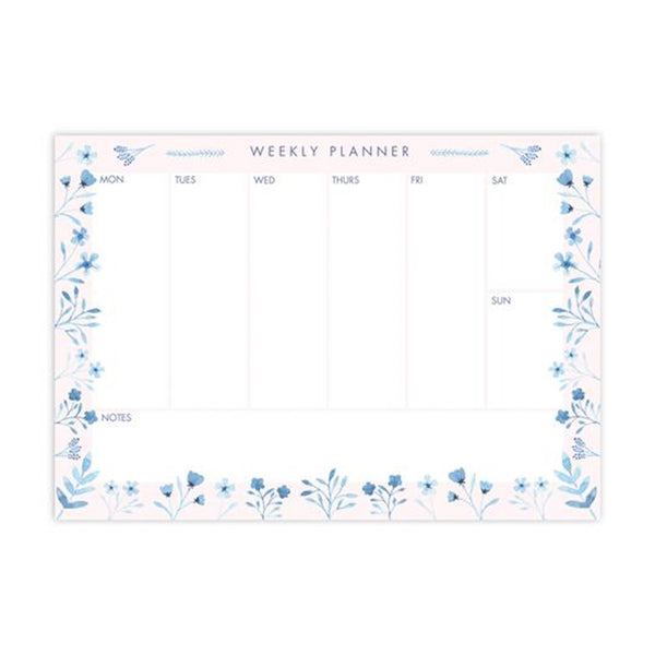 Weekly planner with pink and blue leaves and flower boarder design.