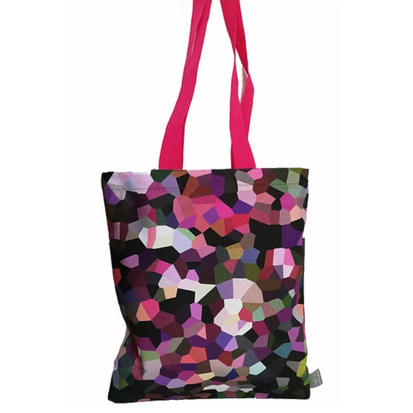 Multi coloured patterned cotton tote bag