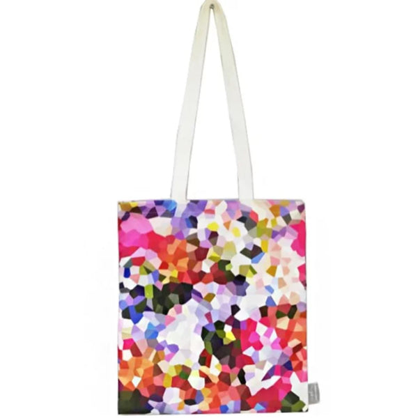 Summer inspired coloured patterned cotton tote bag