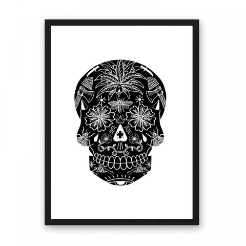 Black skull with tattoos