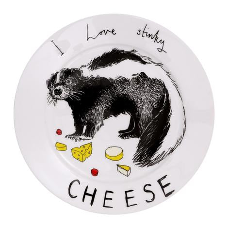 Illustrated bone china plate with a skunk surround with cheese and the text 'I Love Stinky Cheese' around the plates rim.
