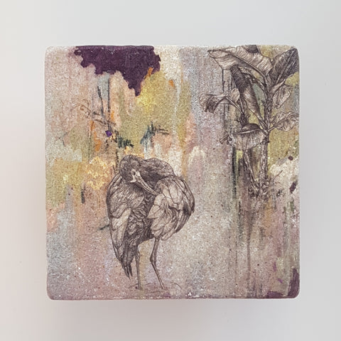 White Faced Ibis Stone Tile Coaster