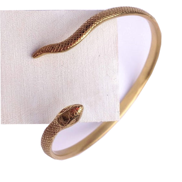 Engraved gold plated snake cuff bangle.